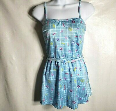 AU51.59 • Buy Vintage 80s Swimsuit 12 Blue One Piece Belt Play Suit Swim Dress Bombshell Pinup