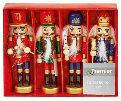 Christmas Nutcracker Soldiers Set Of 4 Christmas Tree Decorations Boxed 12cm • 12.99£