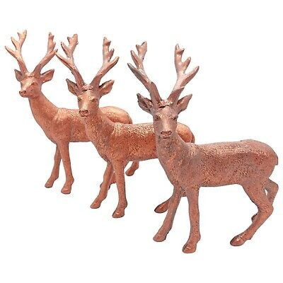 £9.99 • Buy 3 Copper Christmas Reindeer / Stag Ornaments Festive Decorations