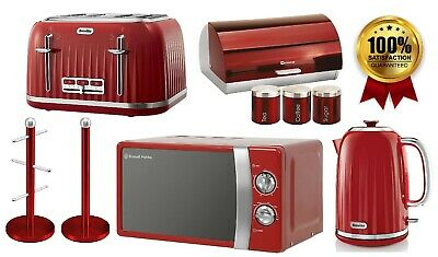 Red Breville Jug Kettle Toaster Russell Hobbs Microwave Bread Bin Canisters Set • 239.99£