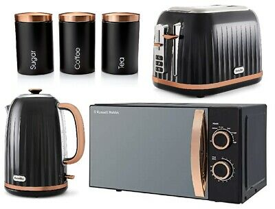 Rose Gold Kitchen Set Russell Hobbs Microwave Breville Kettle Toaster Canisters • 219.99£