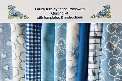 Laura Ashley Baby Blue Patchwork Quilting Kit+instructions & Templates Nursery  • 16.50£