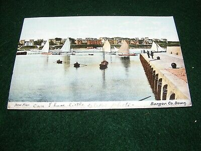 Vintage Postcard Pier Bangor Co Down Yachting Sailing Boats W Lawrence • 1.50£