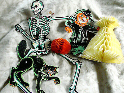 $ CDN25.09 • Buy VTG Honeycomb Diecuts Halloween Decorations Beistle LOT 3 Cat Skeleton Jointed