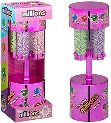 MILLIONS LARGE SWEET DISPENSER MACHINE PINK & 8 X 16g BAGS OF MILLIONS SWEETS • 20.49£