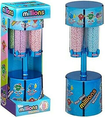 MILLIONS LARGE SWEET DISPENSER MACHINE BLUE & 8 X 16g BAGS OF MILLIONS SWEETS • 20.49£