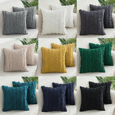 Bed Sofa Plain Cotton Pillow Cases Pad Tassel Throw Cushion Cover Square 45x45cm • 12.29£