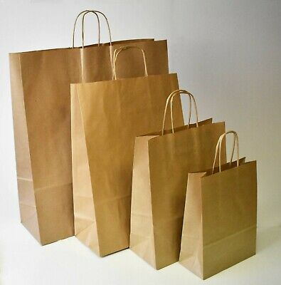 Strong Brown Paper Bags Twisted Handle Plain Carrier Twist Gift Fashion Party • 45.99£
