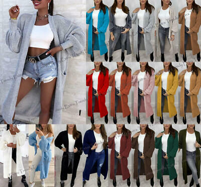 Ladies Chunky Knitted Oversized Balloon Sleeve Pockets Jumper Long Maxi Cardigan • 19.90£