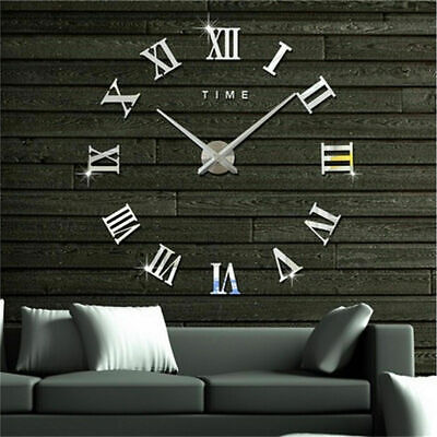 DIY 3D Large Number Mirror Wall Clock Sticker Decor For Home Office Kids Room • 11.49£