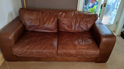Halo Tan Leather 3 Seater Aniline Sofa - 2m X 1m X 77cm • 450£