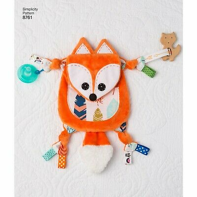 SIMPLICITY Sewing Patterns~8761 Baby Infant Sensory Animal Blanket+Teething Toy • 8.85£