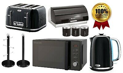 Black Electric Kettle & Toaster Breville Russell Hobbs Microwave Canisters Set  • 229.99£