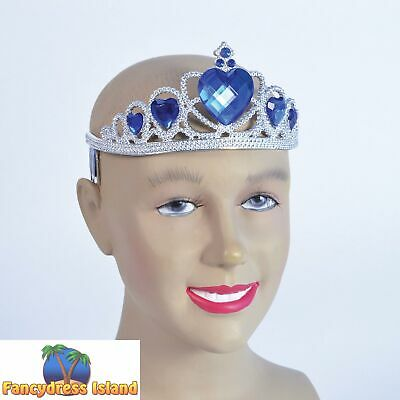 FAIRYTALE SILVER PLASTIC BLUE STONE TIARA Ladies Womens Fancy Dress Accessory • 5.49£