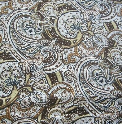 100cm X 93cm Brown Paisley Viyella Style Retro Vintage Sewing Fabric 1960s • 14.12£