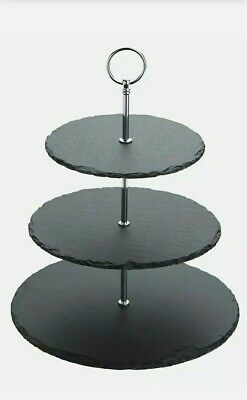 Cake Stand Slate Chrome 3 Tier New Without Box Round  • 7.99£