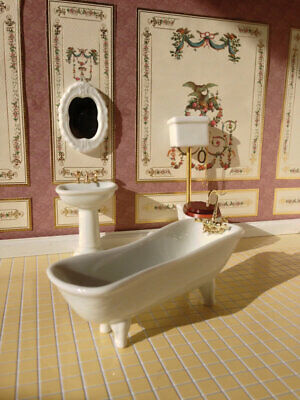 1/12 Scale Dolls House Emporium White Classic Ceramic Bathroom Set, 4 Pcs 1751 • 19.95£