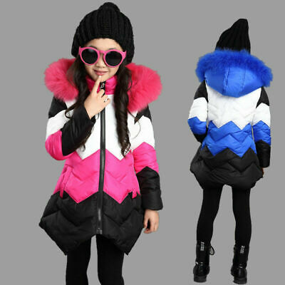 Girls Kids Parka Down Cotton Padded Long Jacket Faux Fur Hooded Warm Coat Winter • 17.66£