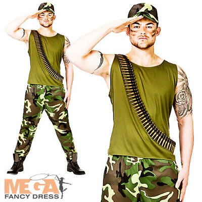 Army Soldier Mens Fancy Dress Military Camouflage Uniform Adults Costume Outfit • 12.49£