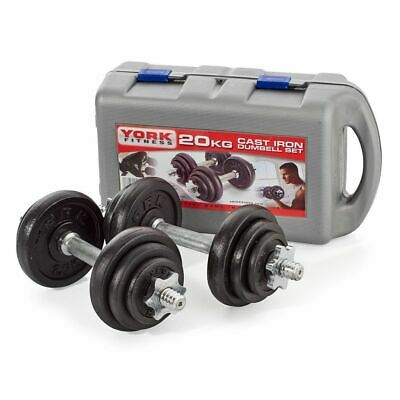 York Fitness 20kg Cast Iron Dumbbell Set With Case • 91.99£