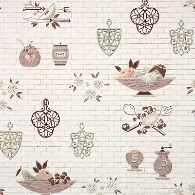 £39.83 • Buy 1950s Kitchen Vintage Wallpaper Midcentury Brown And Copper Fruit Bowls On White