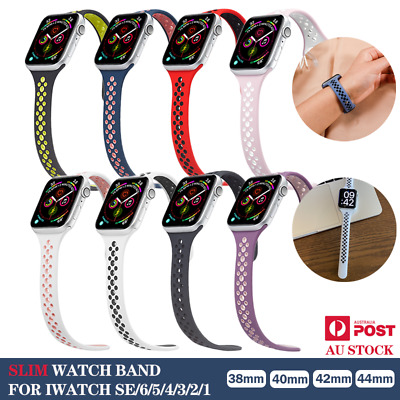 AU8.99 • Buy For Apple Watch Band Slim Silicone Series SE 6 5 4 3 IWatch 38 40 42 44mm Strap