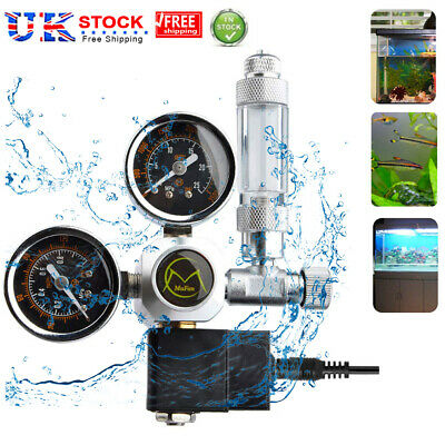 Dual Gauge Aquarium CO2 Regulator W/ Solenoid Bubble Counter W21.8 EU Plug • 35.28£