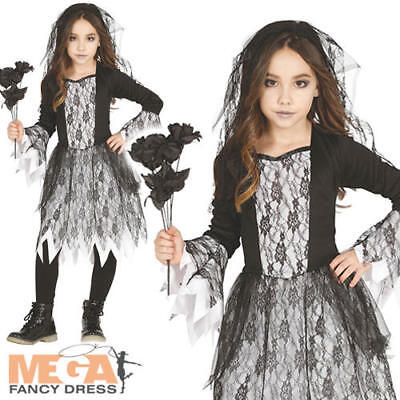 Gothic Ghost Bride Fancy Dress Girls Halloween Kids Childrens Costume Outfit • 10.99£