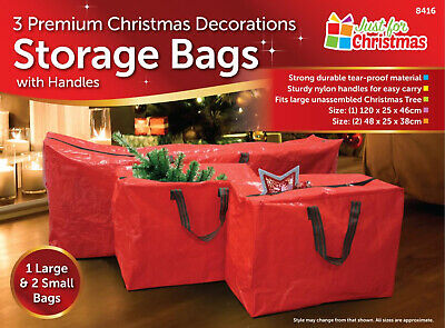 Red 3 X Large Christmas Storage Zip Bags Tree, Decorations, Lights With Handles • 8.99£