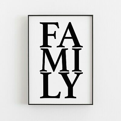 Family Typography Print Poster Inspirational Love Home Decor Gift Wall Art  • 4.99£