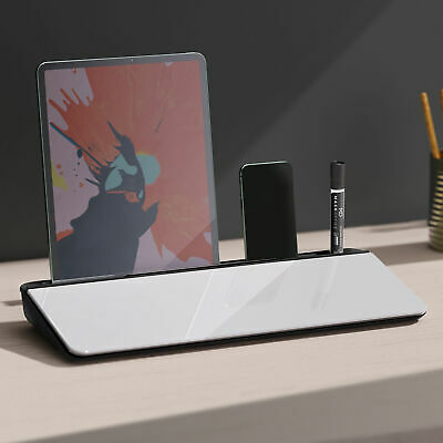 Desk Organizer Monitor Riser With 2 Groove 4 Cabinet Glass Panel Office • 10.99£