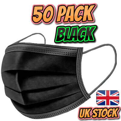 50 Pack Black Disposable Face Masks 3 Ply Non-Medical/Surgical Mask • 7.99£
