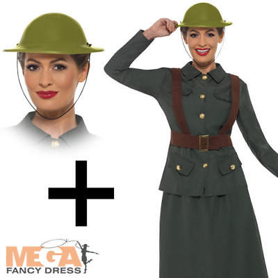 WW2 Army Warden Ladies Fancy Dress Military Uniform Adults 1940s Costume + Hat • 24.99£