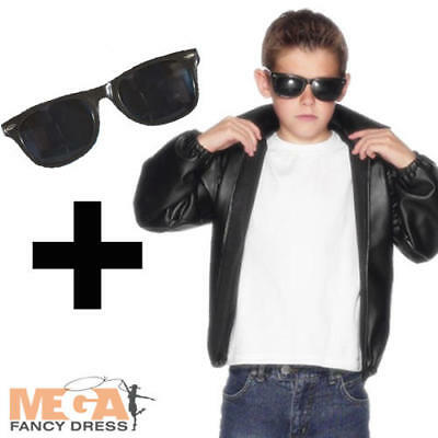 T-Bird Jacket + 50s Shades Boys Fancy Dress 1950s Grease Kids Childs Costume • 23.49£