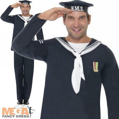 Naval Seaman Mens Fancy Dress 1940s Uniform Navy Military Costume 40s Outfit • 18.99£