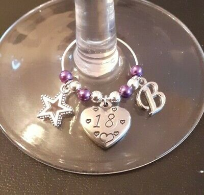 18th Birthday Gift - Personalised Wine / Gin Glass Charm - Choices • 1.85£