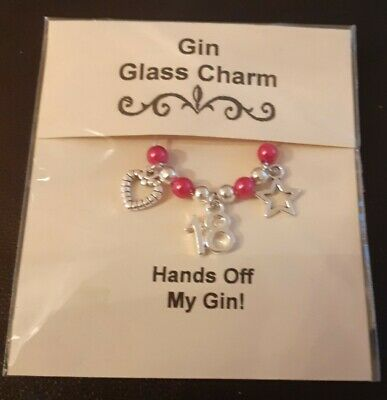 18th Birthday Gift -  Hands Off My Gin  Glass Charm - Choice Of Colour • 1.75£