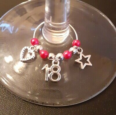 18th Birthday Gift - Wine / Gin Glass Charm - 3 X Charms - Choice Of Colour • 1.75£