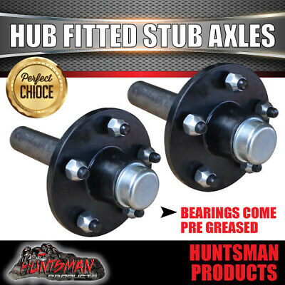 AU141 • Buy 2X Trailer 5 Stud Hubs Fitted 39mm Round Stub Axles. LM Holden Bearings 750KG