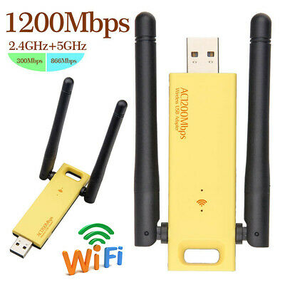 £9.99 • Buy USB WiFi Dongle Adapter 1200Mbps Wireless Network For Laptop Desktop PC Antenna