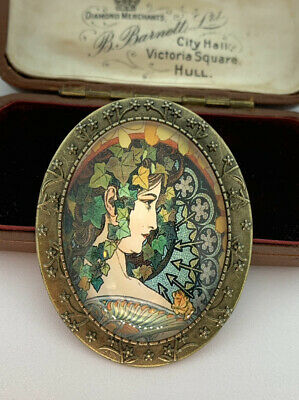 Lovely Autumn Art Nouveau Mucha Style Lady VTG Effect Cameo Brooch - BN • 8.99£