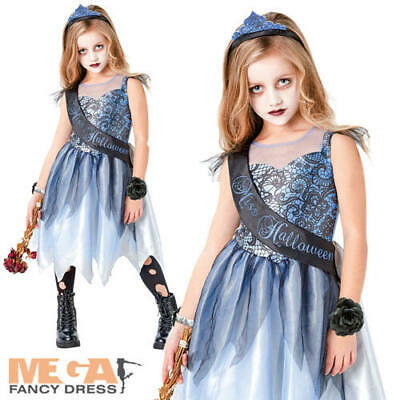 Miss Halloween Girls Fancy Dress Zombie Prom Queen Kids Childrens Costume Outfit • 11.99£