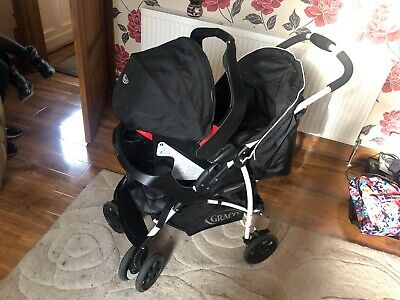 Used Black And Grey Pattern Graco Travel System Rain Cover Included • 53£