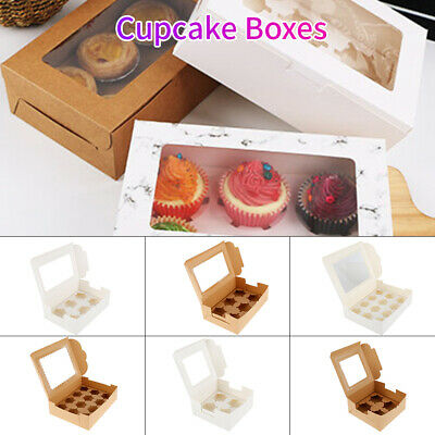 AU24.88 • Buy 4/6/12 Holes Cupcake Box Window Face Cake Boxes Boards Cupcake Boxes White AU