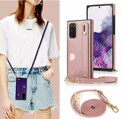 AU16.89 • Buy With Neck Strap Crossbody Phone Case Cover Credit Card Holder PU Leather Back
