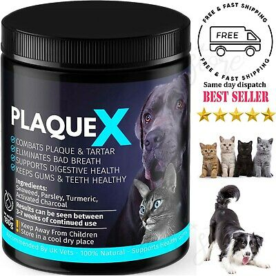 Plaque X 100% Natural Plaque Off Tartar Remover Dogs Cats Breath Fresh 180g • 11.99£