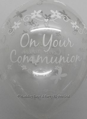 5 Clear First Holy Communion Butterfly Helium/Air Balloons Party Decor Boy Girl • 3.49£