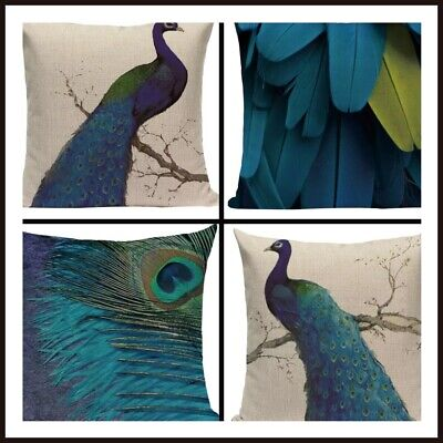 UK Peacock Bird Blue Green Cushion Covers Linen Large 18 Inch / 45 Cm Set Of 4 • 19.99£