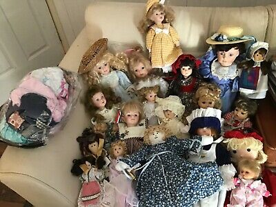 $ CDN363.40 • Buy Vintage Porcelain Doll Collection Lot Of 20 Dolls Mix With Bag Of Outfits Filled