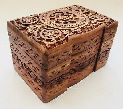 Hand Carved Wooden Floral Jewellery Bit Bob Storage Organiser Chest Box Case • 19.99£